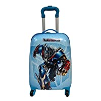 """Children Kids Holiday Travel Character Suitcase Luggage Trolley Bags 18"""" Blue Transformers"""
