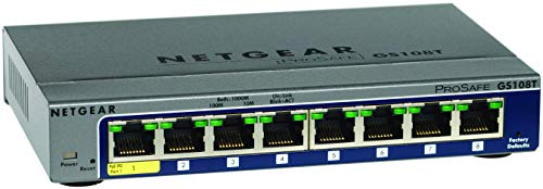 Netgear ProSAFE GS108T-200GES (8 Port Gigabit Smart Managed Switch 8 x 10/100/1000 - desktop) -