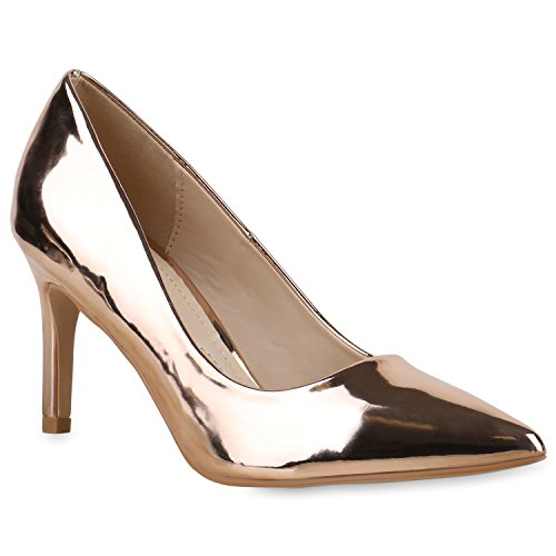 Klassische Lack Pumps Damen High Heels Strass Spitze Stilettos Samt Metallic Leder-Optik Schuhe 131320 Rose Gold Lack 37 | Flandell (Leder Pumps Tanz)
