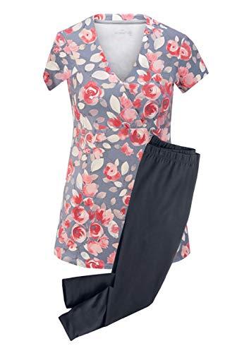 Damen Schlafanzug Pyjama 3/4 Leggings Caprihose Kurzarm (40/42 M)