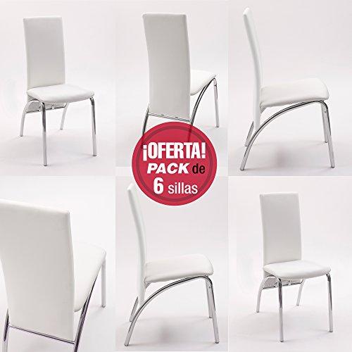 Pack de 6 sillas de comedor Andros, tapizada...