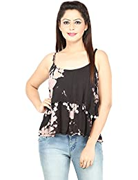 Secret Bazaar Women Flared Crepe Sleeveless Printed Top with Stripes