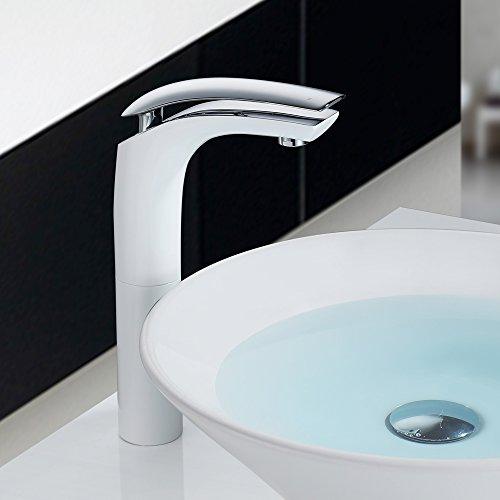 Homelody – Design-Waschtischarmatur, Einhebelarmatur, ohne Ablaufgarnitur, hoher Auslauf, Weiß-Chrom - 6