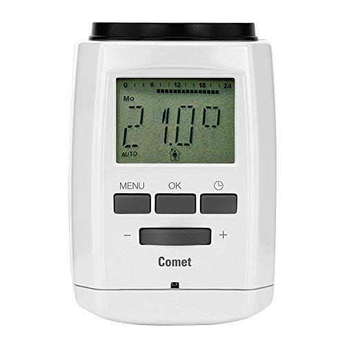 Eurotronic Comet Energiespar-Regler; Programmierung mit USB-Stick / elektronisches Heizkörperthermostat - mit Programmier-Port - Weiß