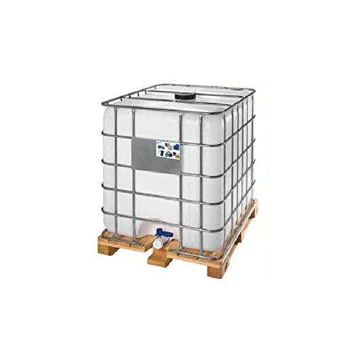 Cisterna IBC usata/rigenerata in plastica, 1000 Litri, colore neutro, coperchio 225 mm, valvola di scarico 2', pallet legno