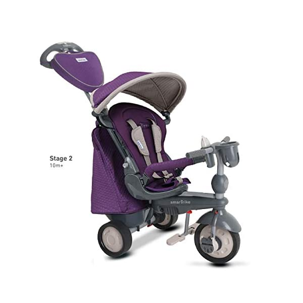 smarTrike 8400500 Baby Tricycle Smartrike Adjustable/ removable, telescopic touch steering parent handle, reclining seat 5-point seat harness and safety bar Quality storage bag coordinated with detachable and adjustable canopy, shoulder pads and seat pad 3