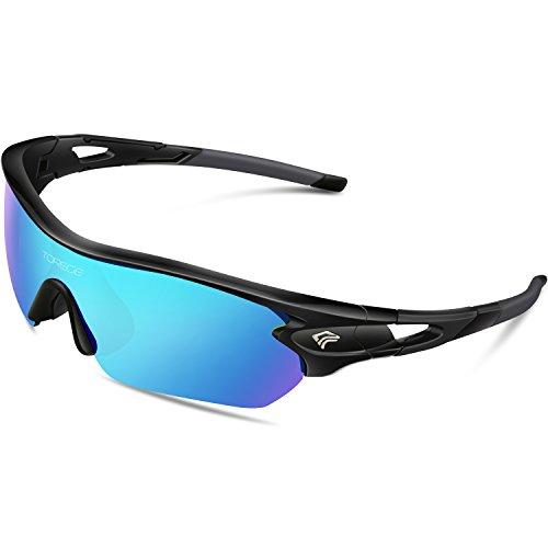 Torege, occhiali da sole sportivi polarizzati con 5 lentiintercambiabili, per uomini, donne, occhiali da ciclismo, da guida, da pesca, da golf o da baseball, tr002, black&ice blue lens