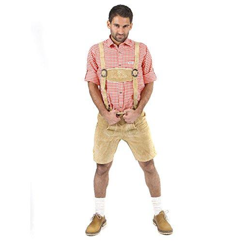 ALMBOCK kurze Lederhose Herren Tracht | Lederhose kurz Herren braun mit verstellbaren Hosenträgern | Lederhose kurz Tracht - Lederhose Herren kurz 46 - 7
