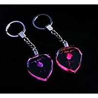 Umei Pack of 50 Units 3d Laser Engraved LED Heart Crystal Keychain with Rose for Christmas Gifts