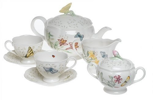 Lenox Schmetterlingswiese Tee-Set, Service für 2 7 ounce weiß Tee-service-sets