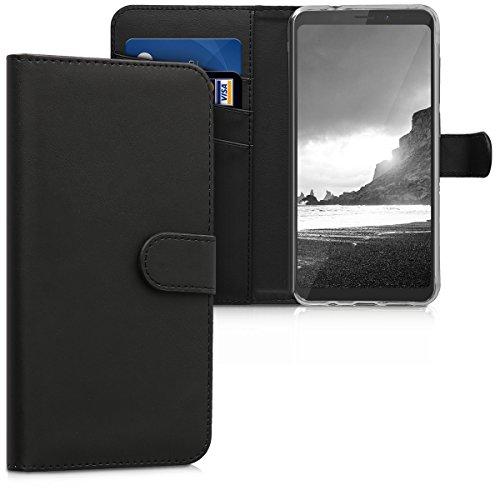 kwmobile Wiko View XL Hülle - Kunstleder Wallet Case für Wiko View XL mit Kartenfächern und Stand