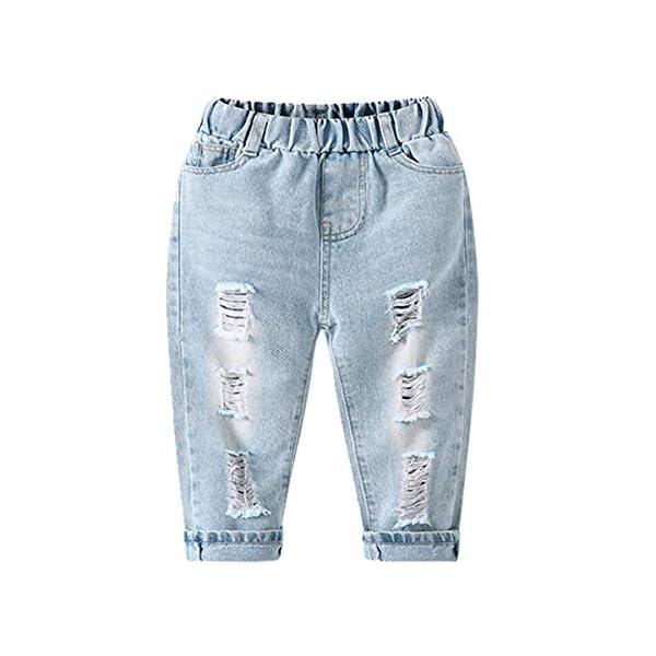 LAPLBEKE Bebé Niño Vaqueros Rotos Jeans Denim Rasgado Ripped Pantalones con Cintura Elástica Primavera Otoño 1