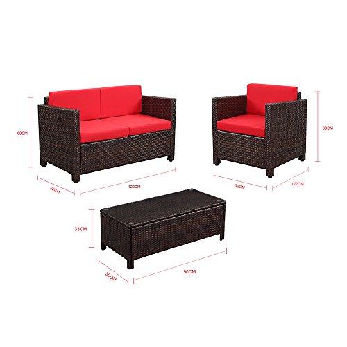 Ikayaa 4pcs cuscino vimini ed mobili da giardino esterno for Mobili giardino sconti