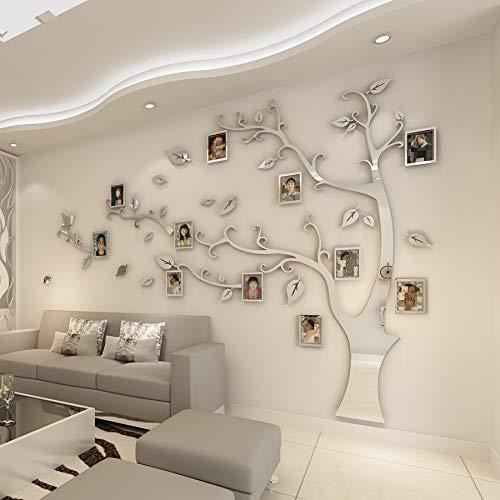 lihaod Wandaufkleber 3D Acryl Baum Fotorahmen Wandaufkleber Kristall Spiegel Aufkleber Paste Im Fernsehen Hintergrund WandFamilie Fotorahmen Wanddekor
