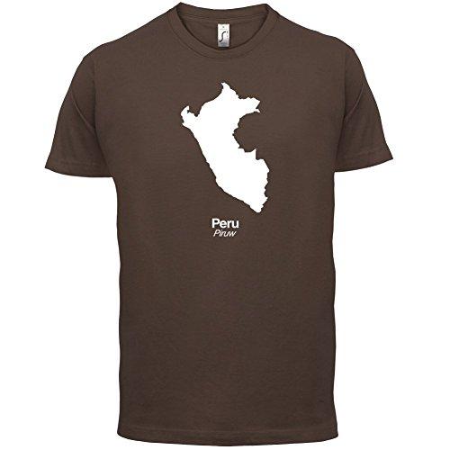 Peru / Republik Peru Silhouette - Herren T-Shirt - 13 Farben Schokobraun