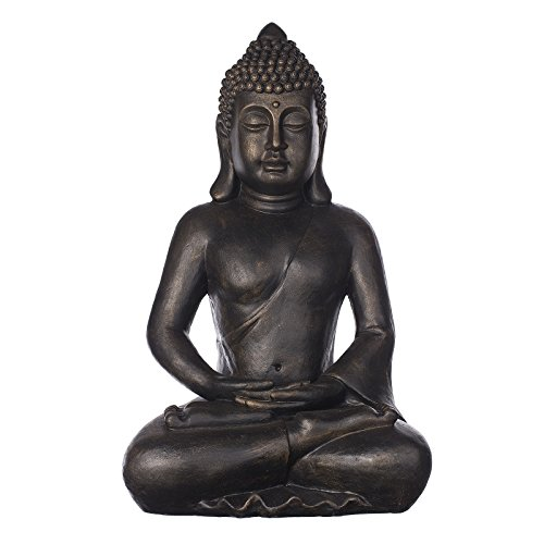 Buddha B4001 Bronze, für Innen und Außen, Buddha Figur XXL 64cm hoch , Buddha Statue groß, Büste, Gartendekoration, Wetterfest (nicht frostsicher) aus Kunststein (Polyresin) sehr aufwendig per Hand bemalt, sehr feine Strukturen