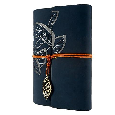 Foonii Vintage Retro Leather Cover Notebook Klassische Travel Journal Tagebuch Leeren Kraft Notebook Baumblatt(Tiefes Blau)