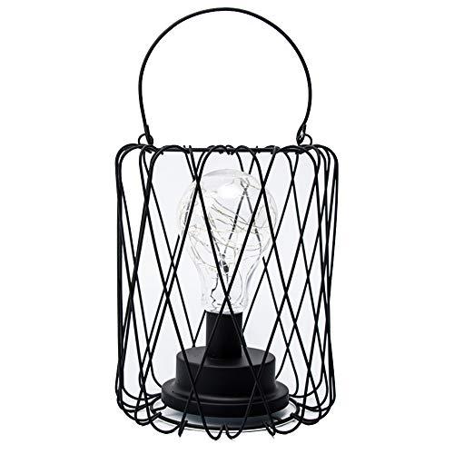 Lámpara de mesa de alambre LED Operado con pilas Metal vintage Jaula industrial Luz de escritorio Lámpara...