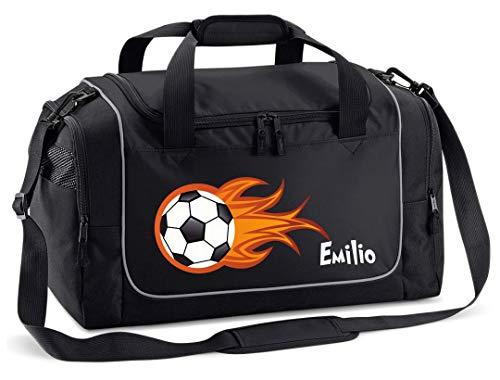 Mein Zwergenland Sporttasche in Schwarz mit Namen, 38 L, Feuerball 33