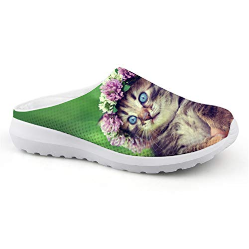 Cute Animal Floral Cats 3D Printed Air Mesh Slip-on Sandals Women Stylish Breathable Slippers Beach Loafers Shoes CA4903CA 35