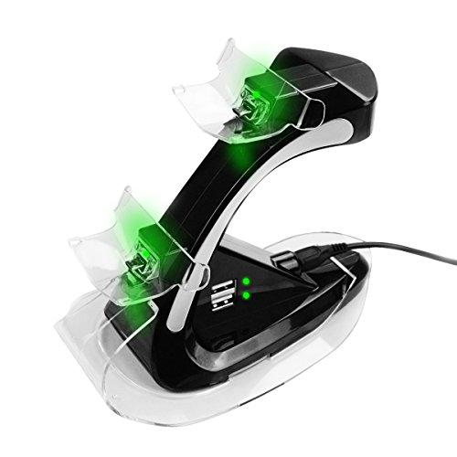 ECHTPower Dualshock 4 Dual Ladestation für Sony Playstation 4 PS4 Slim Pro kabellosen Controller Gamepad mit 2 weitere USB Anschlüsse Ladeports