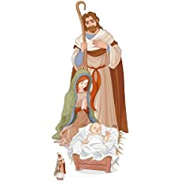 STAR CUTOUTS Life Size Cut Out with Mini Version of Nativity Scene, Cardboard, Multi-Colour, 183 x 88 x 183 cm preiswert