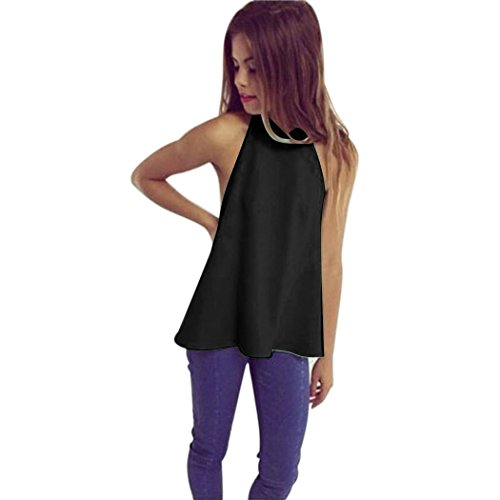 ZEARO Sommer Damen Rückenfrei T-Shirt Tank Tops Bluse Hemd Schwarz