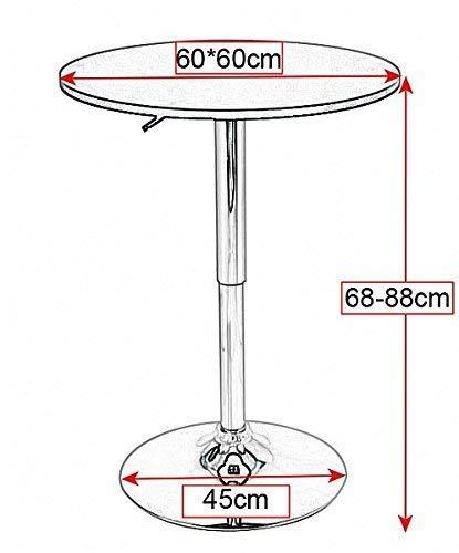 XQY Haushalt High-End Kleine runde Tabelle-Quadrat Bar Pub-Tisch für Frühstück Bistro Coffee Cafe Küche, 360 Grad drehbar, Mdf Top, Höhenverstellbar 68-88 cm, schwarz,Silber -