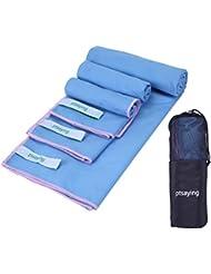 ptsaying toalla de viaje de microfibra Toallas de 3en uno bolsa rápido secado rápido toalla Super absorbente toalla de Material antibacteriano para natación playa piscina baño de viaje senderismo Camping deportes al aire libre, azul celeste