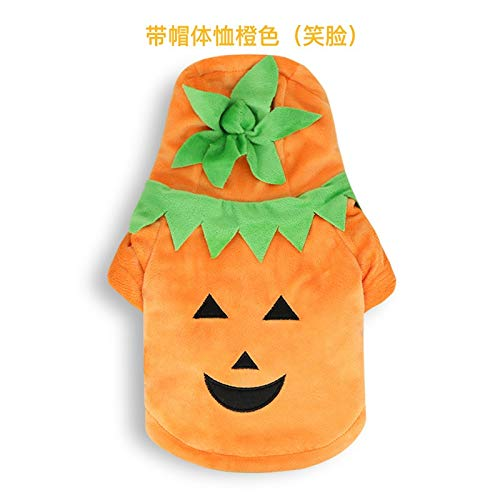 BZAHW Hund Halloween Kürbis Smiley Haustier Kleiner Welpe Katze Teddy Schnauzer Bär Kurzarm T-Shirt Dick Color : Orange (Smiley face), Size : L -