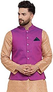 NEUDIS by Dhrohar Textured Dupion Slik Nehru Jacket/Waistcoat For Men - Dark Purple