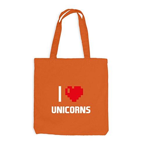 Jutebeutel - I Love Unicorns - Einhorn Girly Orange
