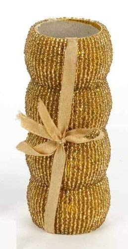 Set of 4 Gold Beaded Napkin Ring Holders, Birthday, Christmas, Any Occasion Gift by Christmas Decorations