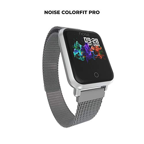 Noise ColorFit Pro Fitness Watch/Smart Watch/Activity Tracker/Fitness Band with Colored Display Waterproof,Heart Rate Sensor, Call & Notification Alert with Stainless Steel Magnetic Bracelet (Silver)