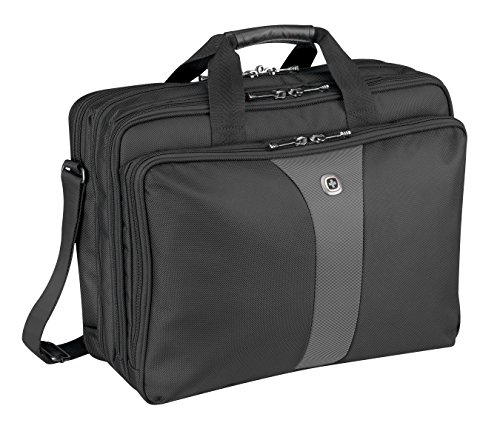 "Wenger 600655 LEGACY 17"" Triple-Gusset Laptop Case , Airport friendly with iPad/Tablet / eReader Pocket in Black / Grey {21 Litres}"
