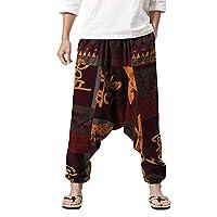iNoDoZ Men's Harem Pants Loose Boho Cotton Linen Festival Baggy Trousers Nationality Style Retro Gypsy Pants 3XL Multicolor