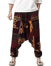 241929b0d13de Lazzboy Hommes Sarouel Festival Coton Lin Baggy Trousers Boho Retro Gypsy  Pantalons