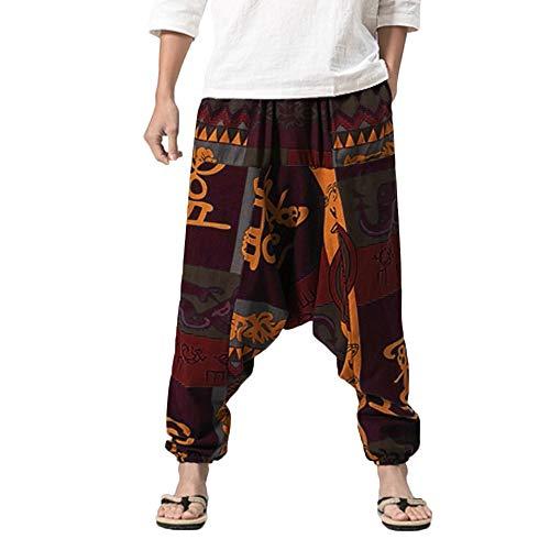 Modaworld Uomo Harem Pantaloni,Larghi Pantaloni Boho retrò zingara Pantaloni in Cotone Lino,Grande Comfort Pantaloni da Yoga, Hippy