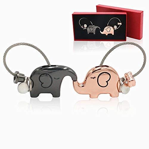 Snner Llaveros Un par de Besos Llavero Elefante Suerte trébol Encanto Anillo dominante Animal [2 Piezas]