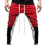 Tomatoa Herren Jogginghose | Trainingshose für Sport Fitness Gym Training Slim Fit Sweatpants Streifen Sweatpants Jogging-Hose Stripe Pants (M, Rot A)
