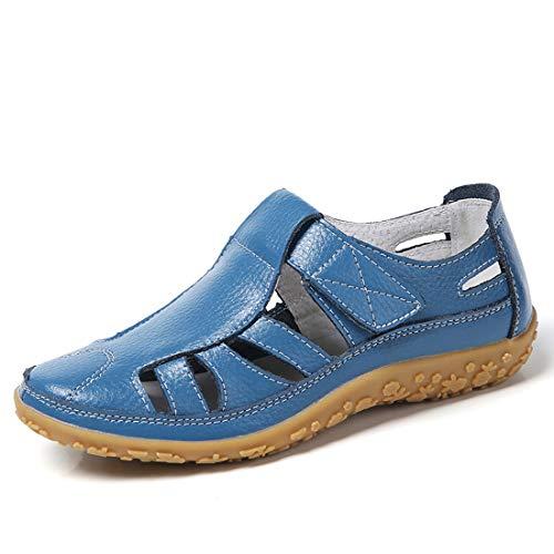 Z.SUO Damen Sandalen Flach Leder Bequeme Casual Mokassin Loafers Fahren Schuhe Mode Sommer Zehentrenner Sandalen(38 EU,Blau) (Casual Schuhe Frauen)