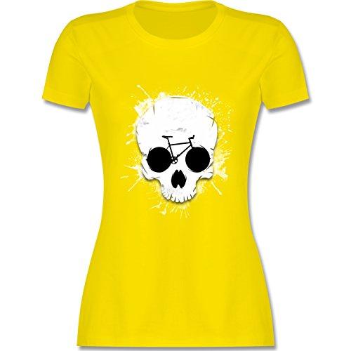 Shirtracer Radsport - Ride or Die - Totenkopf Fahrrad - Damen T-Shirt Rundhals Lemon Gelb