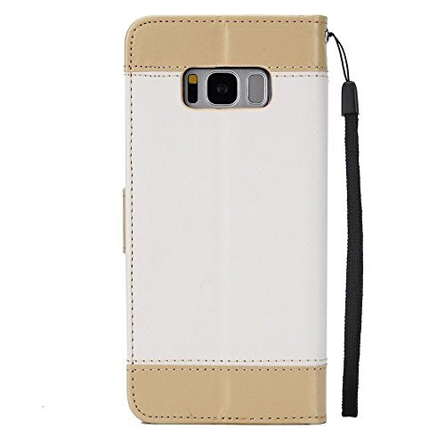 EKINHUI Case Cover Dual Color Matching Premium PU Leder Flip Stand Case Cover mit Card Cash Slots und Lanyard für Samsung Galaxy S8 ( Color : Pink ) White