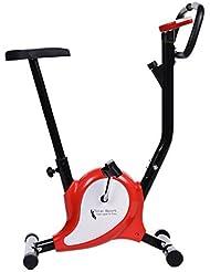 Ancheer Heimtrainer Verstellbarer Widerstand, Fitnessbike Verstellbare Sattelhöhe, Fahrradtrainer mit Pulssensoren & Trainingscomputer (Red) (red)