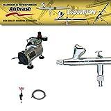 Airbrush Starter Set mit Evolution Silverline 2in1 Set und Kleinkompressor