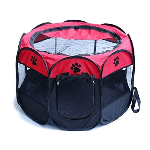 Haustierzelt Tragbares Oxford-Stoff-Katzen-Welpen-Spielen und Übungs-Laufstall-Käfig-atmungsaktives und waschbares achteckiges Haustier-Zaun-Zelt L Rot -