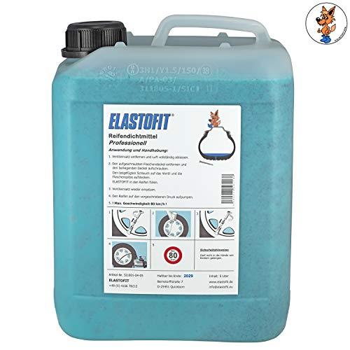 ELASTOFIT Professionell Reifendichtmittel 5 Liter Kanister mit Ventilausdreher und Handschuhen