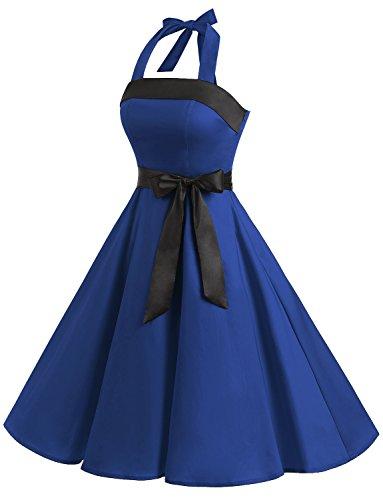 Find Dress Sexy Robe de Soirée Courte Vintage Robe année 40 50 60 Robe de Cocktail Décolleté au Dos Robe Rockabilly Halter Sans Manche avec Ceinture pour Anniversaire Party Bleu Royal