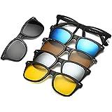 Polarized Mirror Night Vision Glasses 5 Magnetic Clip Black Sunglasses for Men