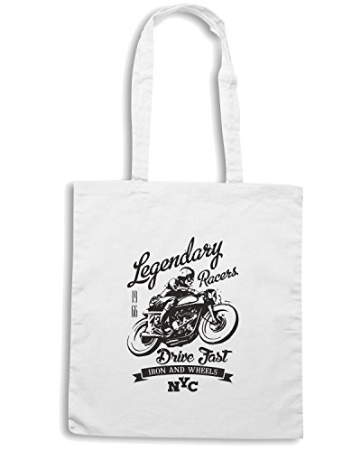 T-Shirtshock - Borsa Shopping TB0320 legendary vintage racers label design with racer and motorcycle Bianco